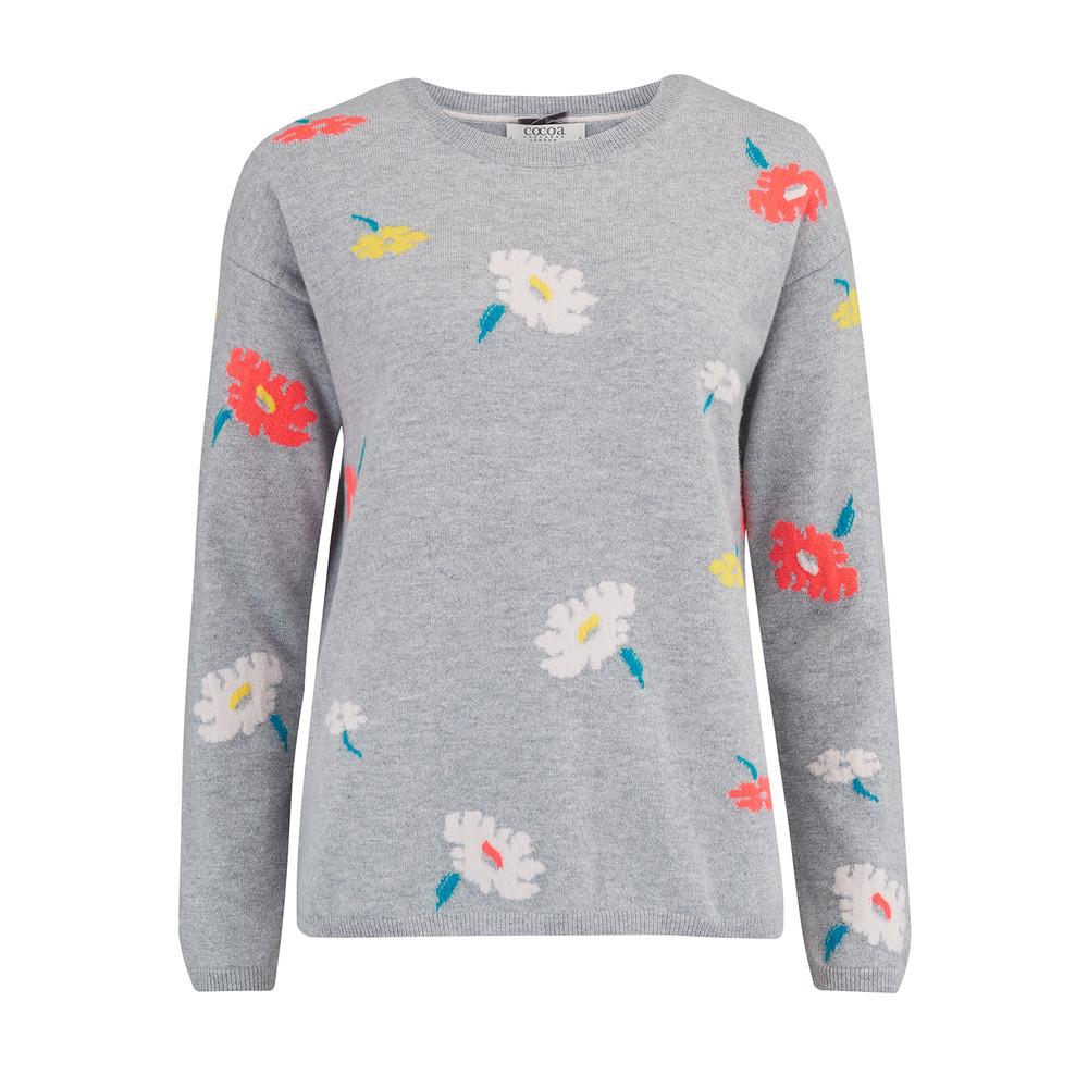 Floral Crew Neck Jumper - Grey