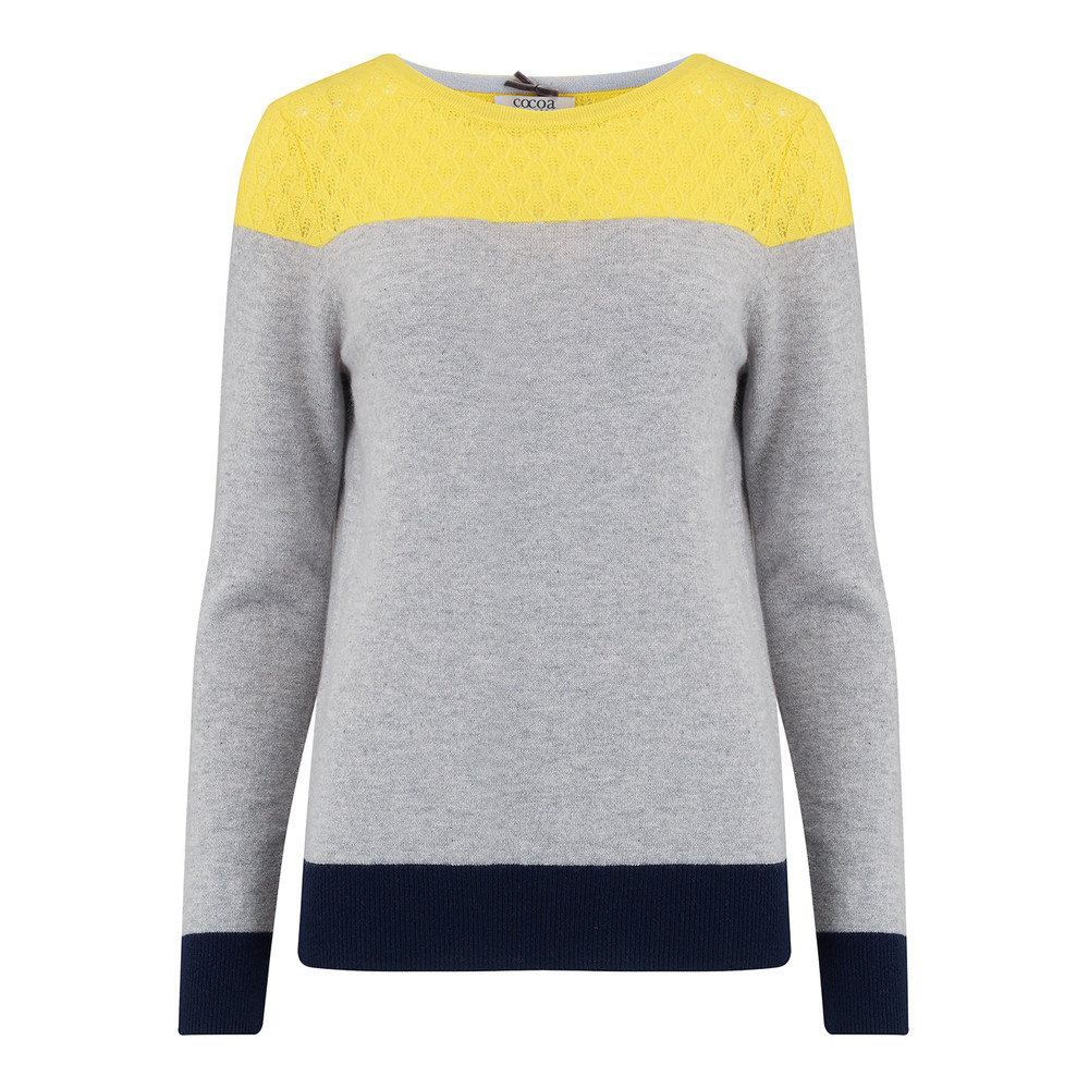 Lace Yoke Crew Jumper - Grey, Navy & Canary