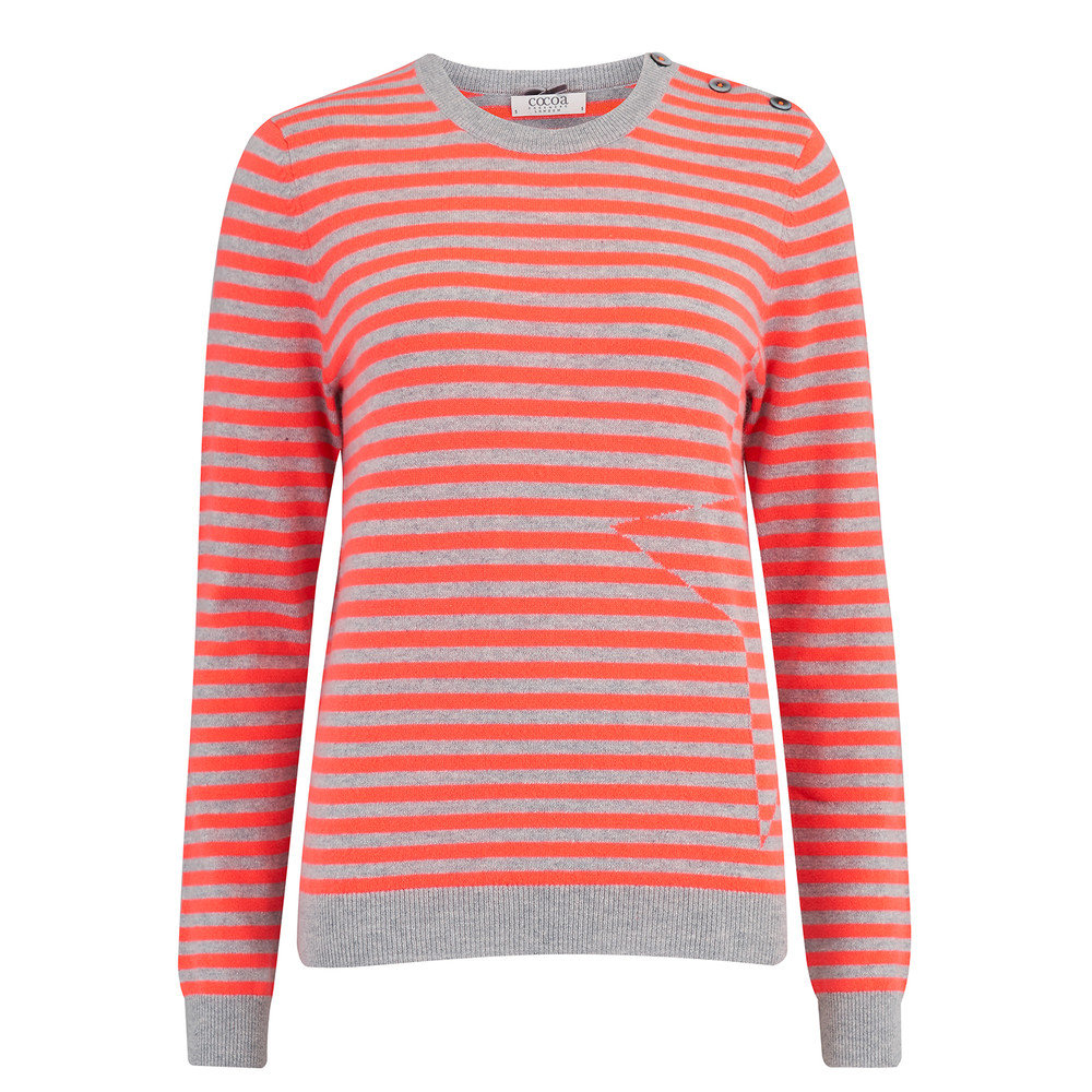 Stripe Crew Neck Jumper - Grey & Chilli
