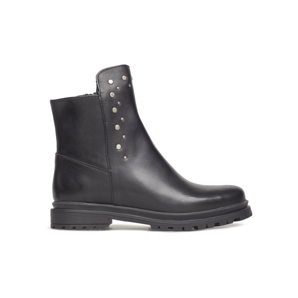 Akira Leather Stud Boots - Black