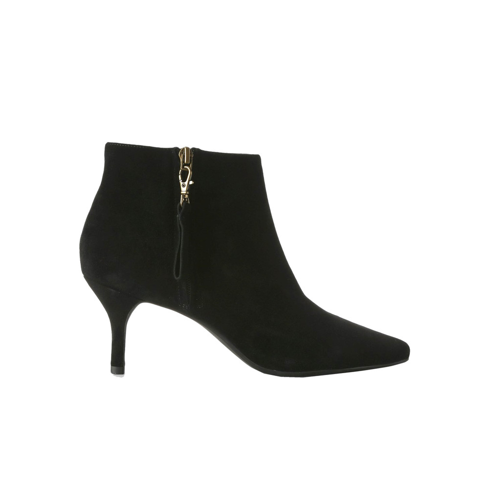 Agnete Gold Suede Ankle Boot - Black
