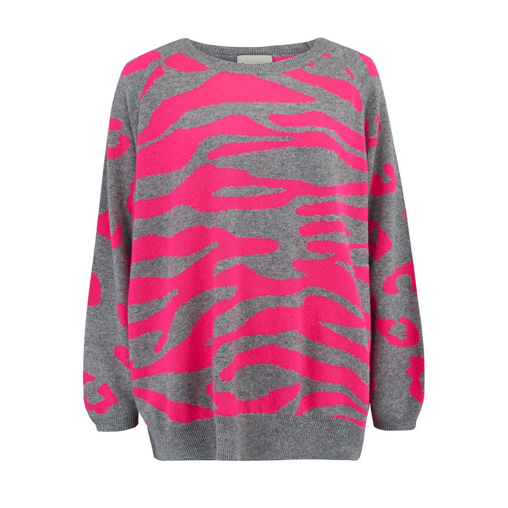 Wild Striped Jumper - Neon Pink & Grey