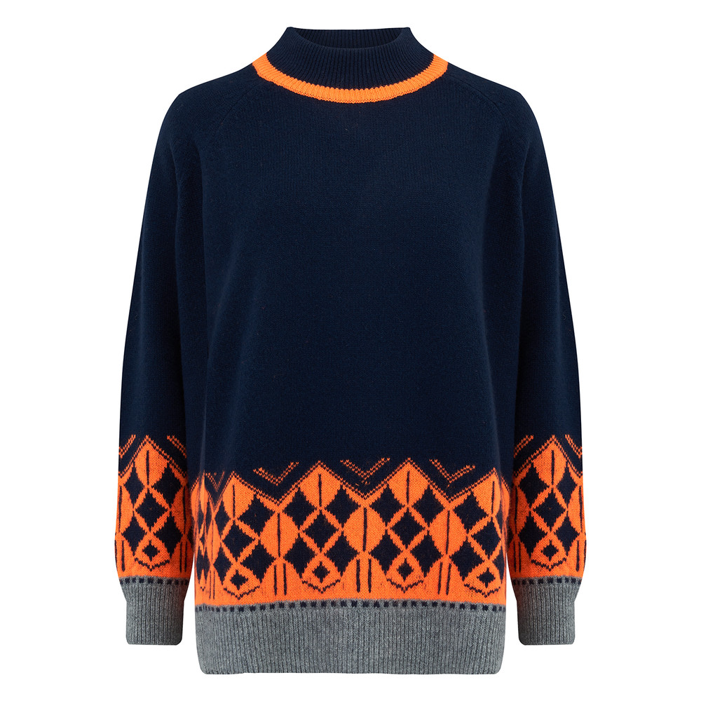 Nordic Roll Collar Cashmere Jumper - Navy