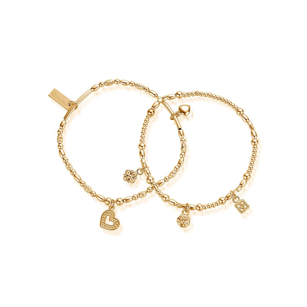 Ariella Heart & Soul Set of 2 Bracelets - Gold