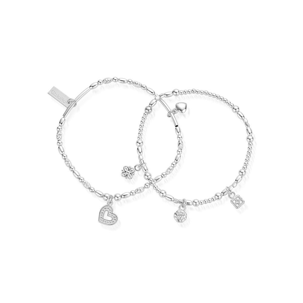 Ariella Heart & Soul Set of 2 Bracelets - Silver