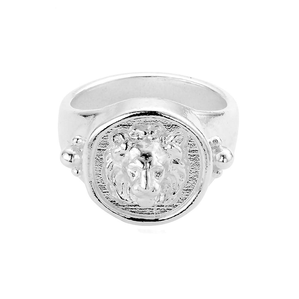 Ariella Lioness Signet Ring - Silver