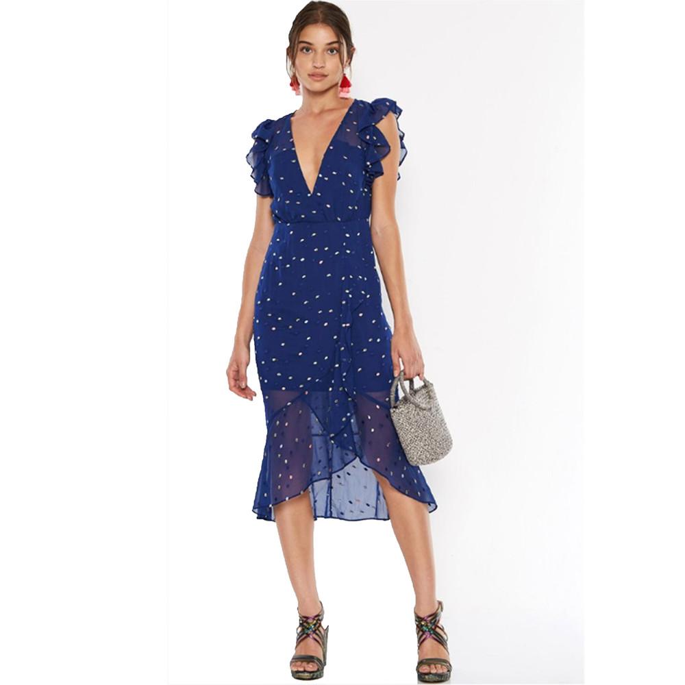 Dalliance Midi Dress - Navy Spot