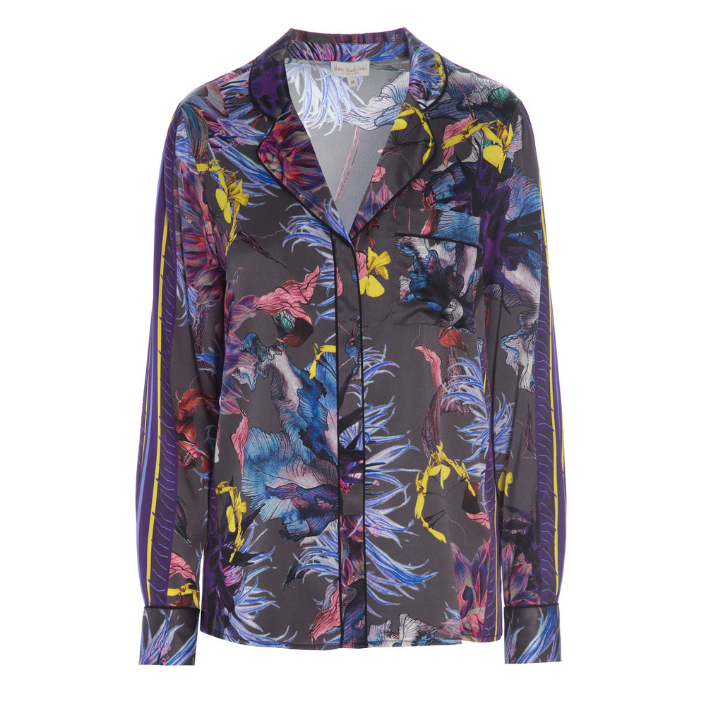 Elmira Exclusive Silk Shirt - Wildflower Grey