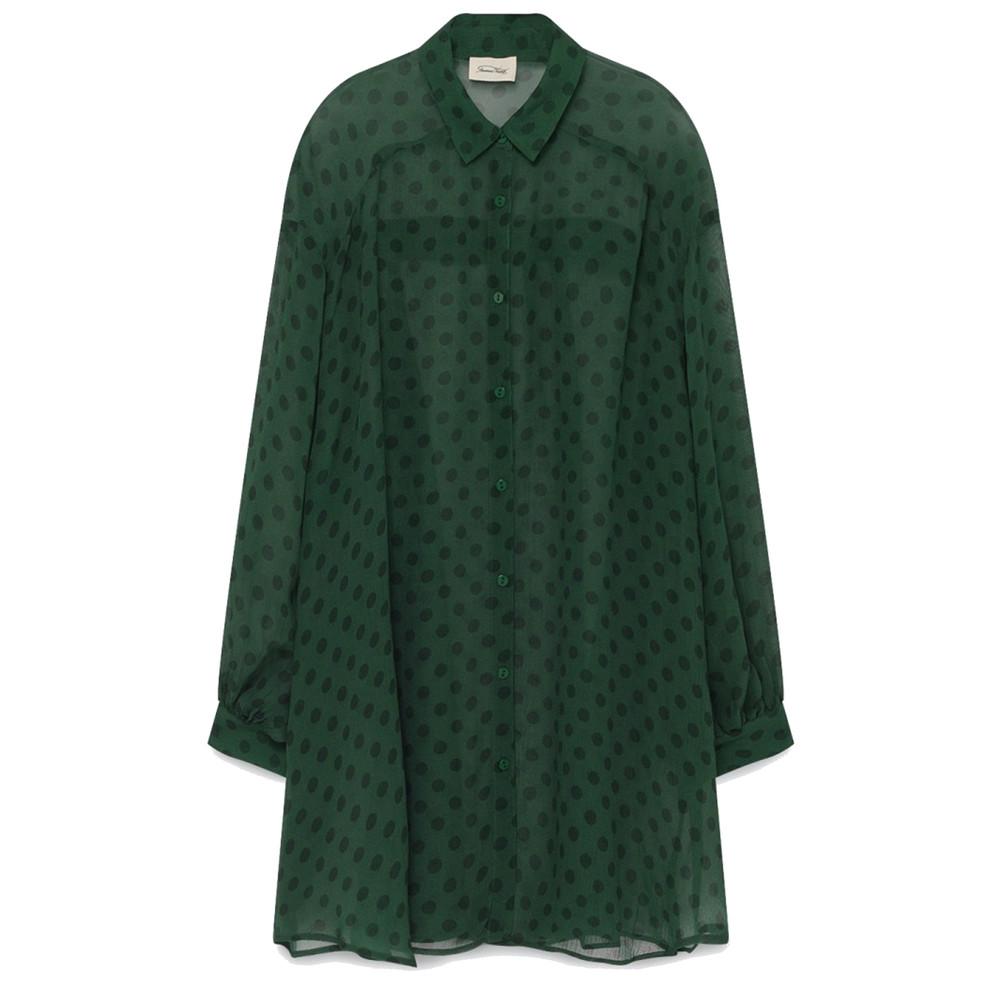 Iristate Polka Dot Oversized Shirt - Green Polka