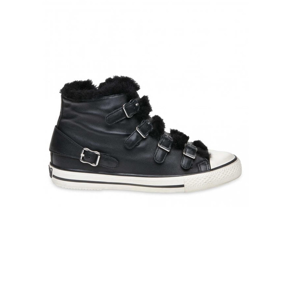 Valko Faux Fur Leather Buckle Trainers - Black