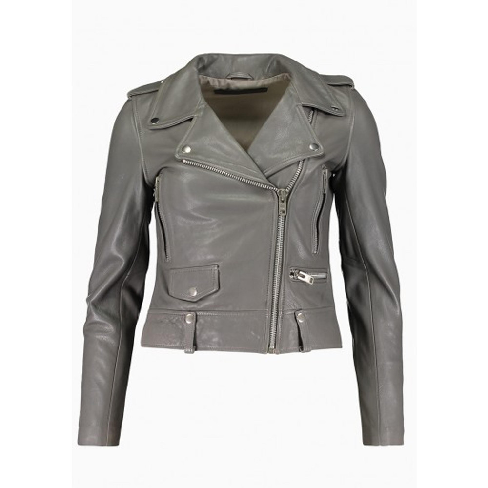 Seattle Cow Leather Jacket - Grey