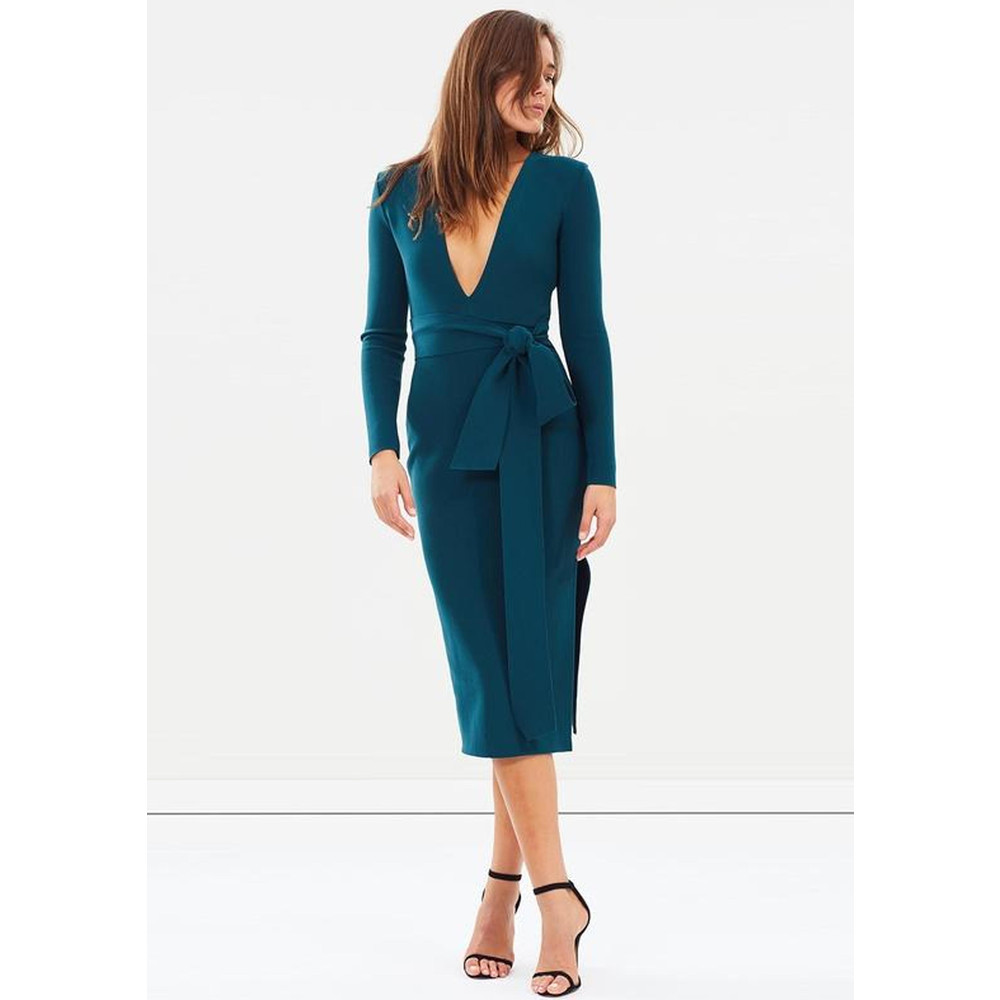 Tasha Long Sleeve Midi Dress - Emerald