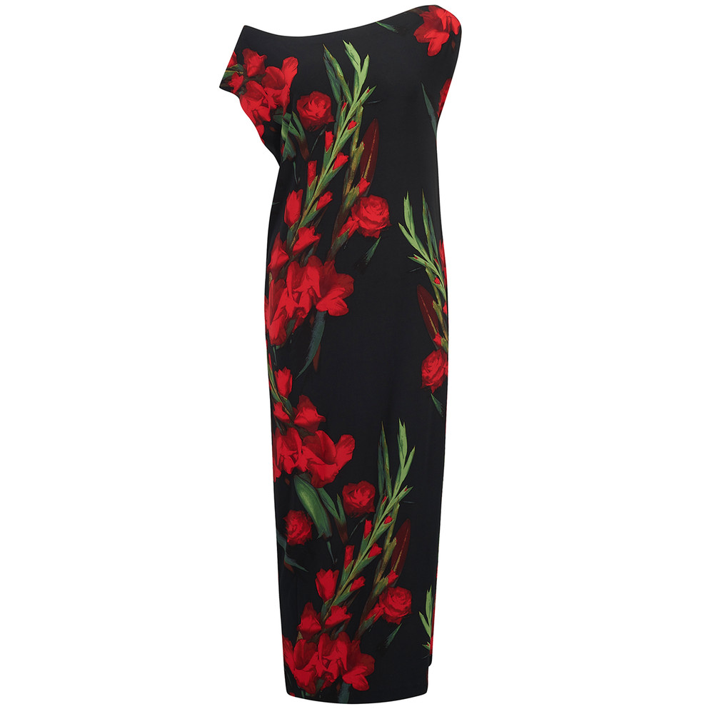 Drop Shoulder Midi Dress - Bloom Roses