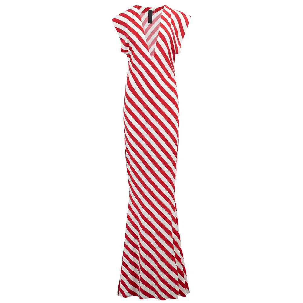 V Neck Rectangle Dress - Tango Stripe