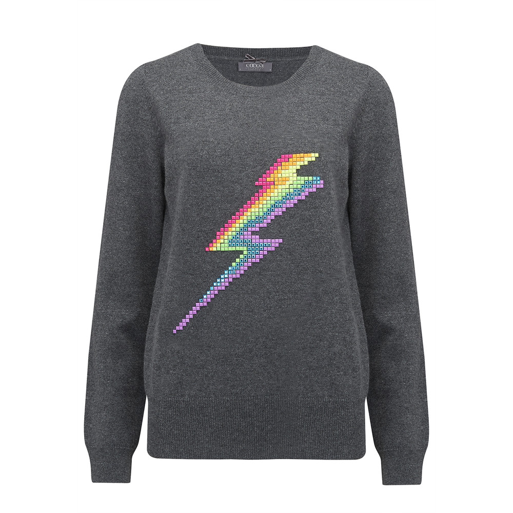 Lightning Bolt Cashmere Jumper - Ash