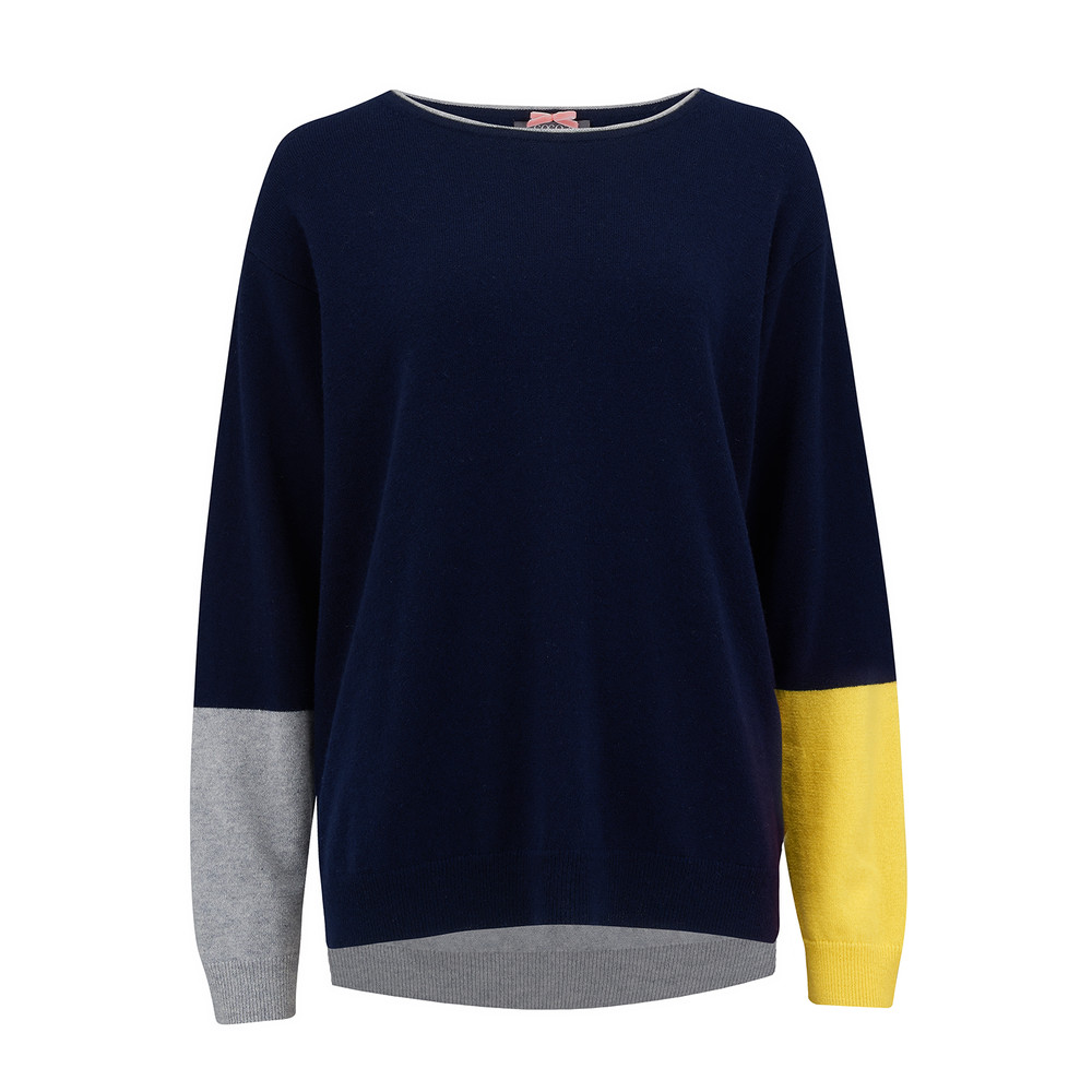Colour Block Cashmere Jumper - Navy, Grey & Canary