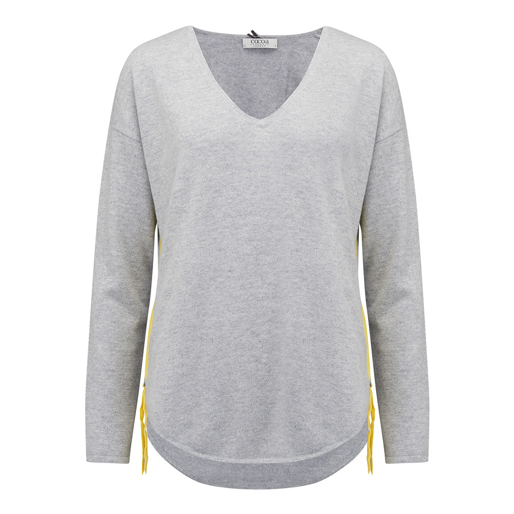 Side Zip Cashmere Jumper - Grey & Canary