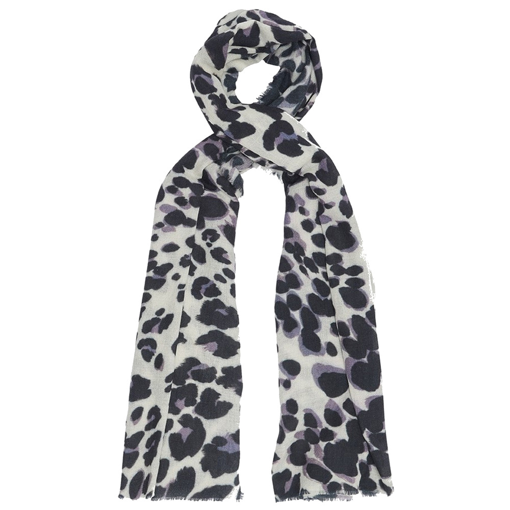 Painted Leopard Scarf - Grey