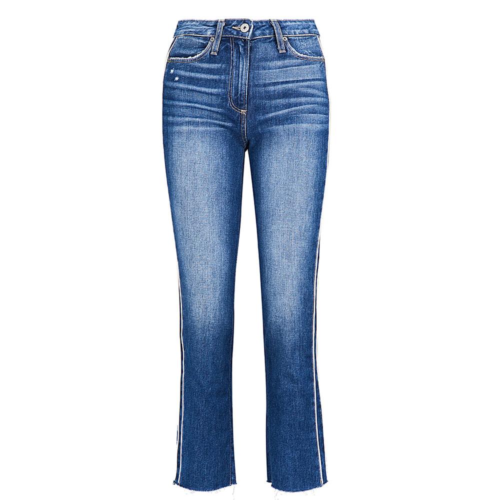 Hoxton Piping Stripe Straight Cropped Jeans - Indigo / Cream