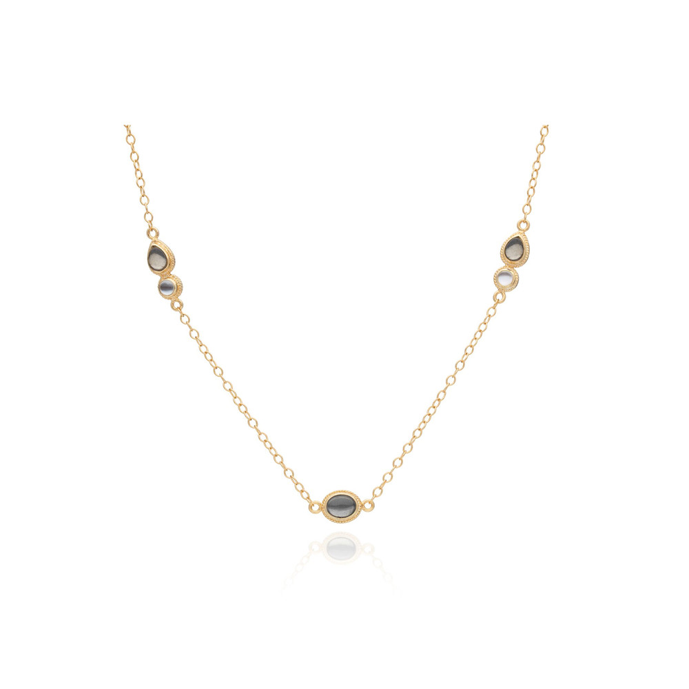 Mirage Pyrite & Mother Of Pearl Station Necklace - Gold