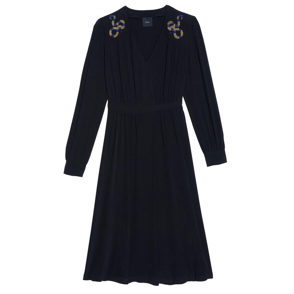 Courgette Snake Embellished Dress - Black