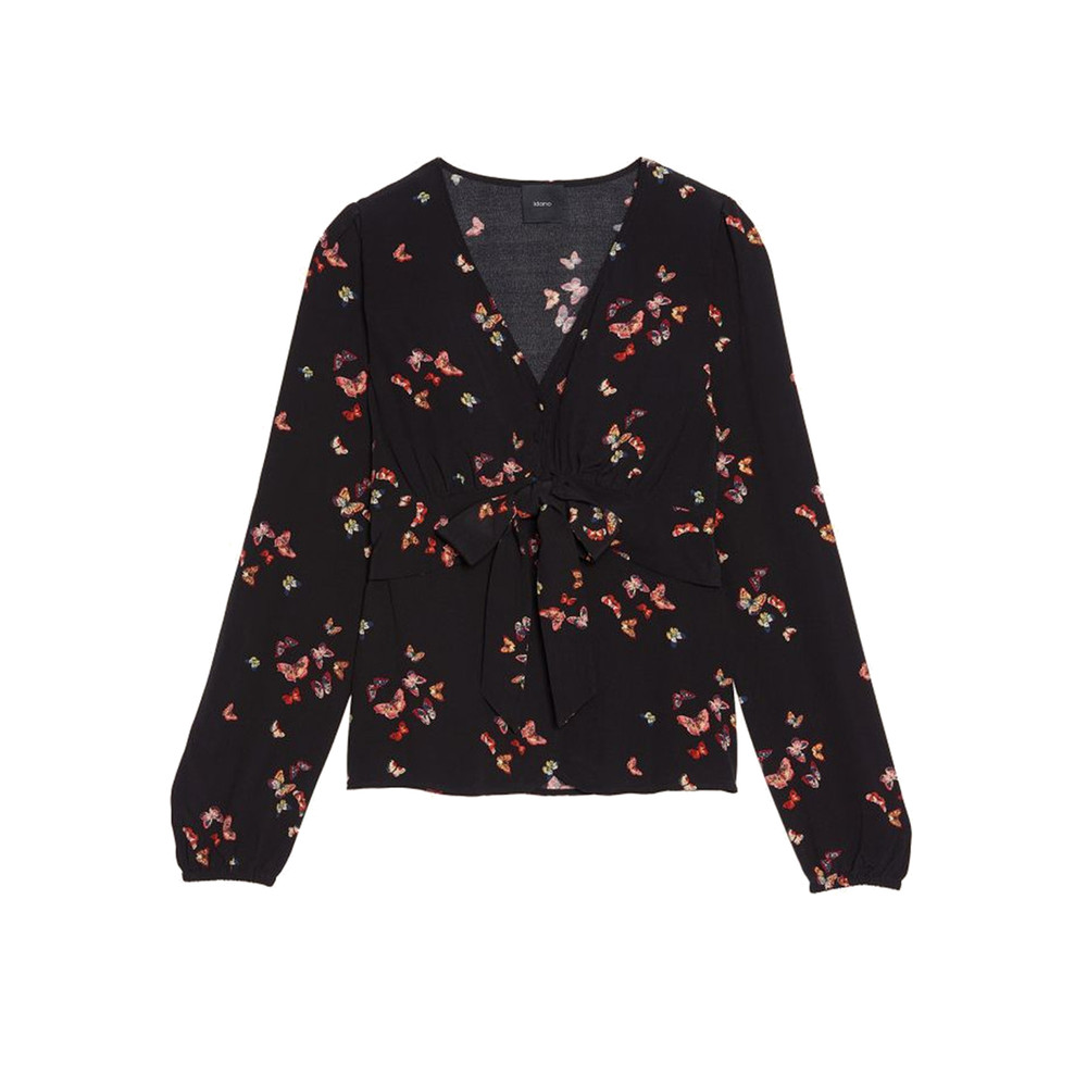 Wakame Butterfly Printed Top - Black