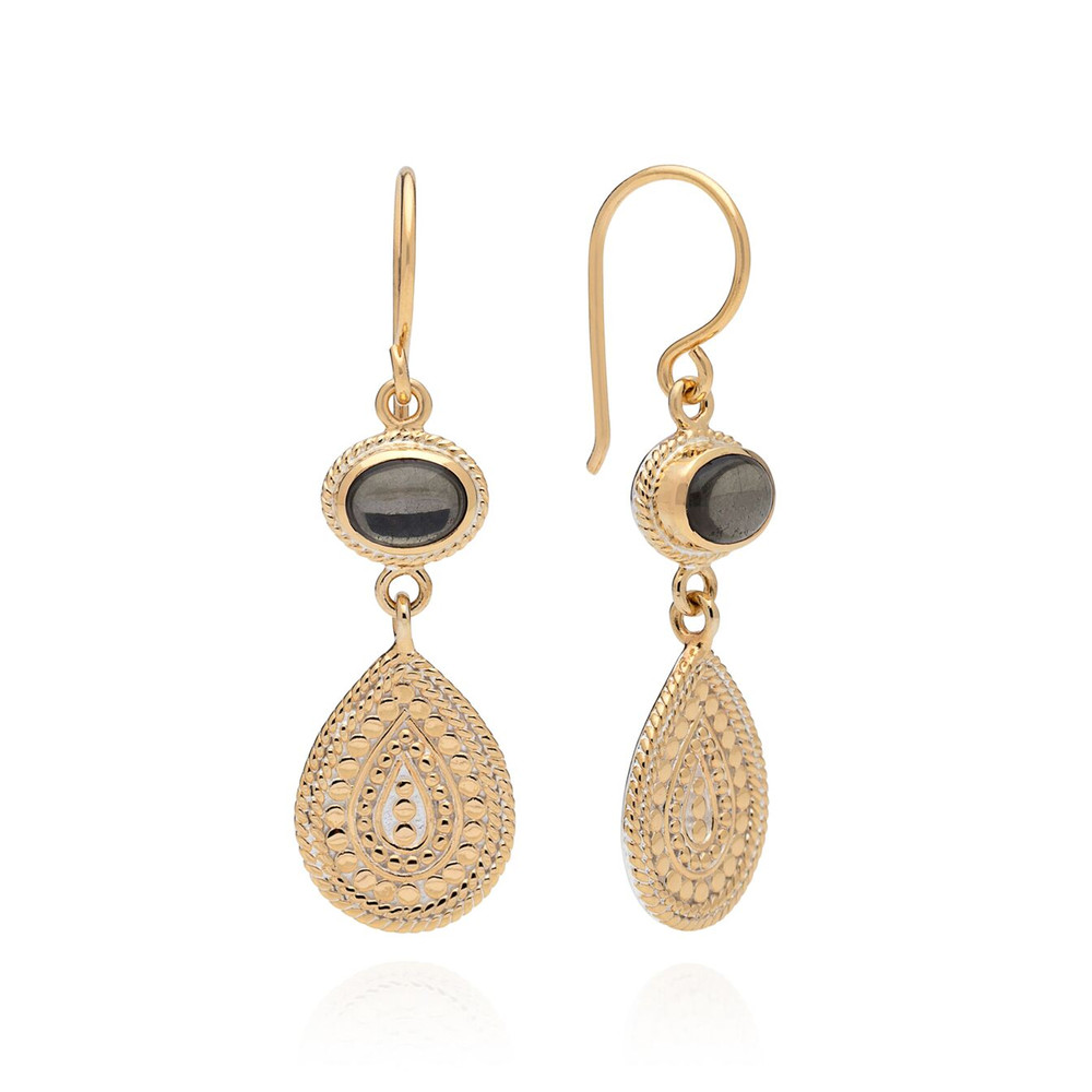 Mirage Smooth Pyrite Double Drop Earrings - Gold