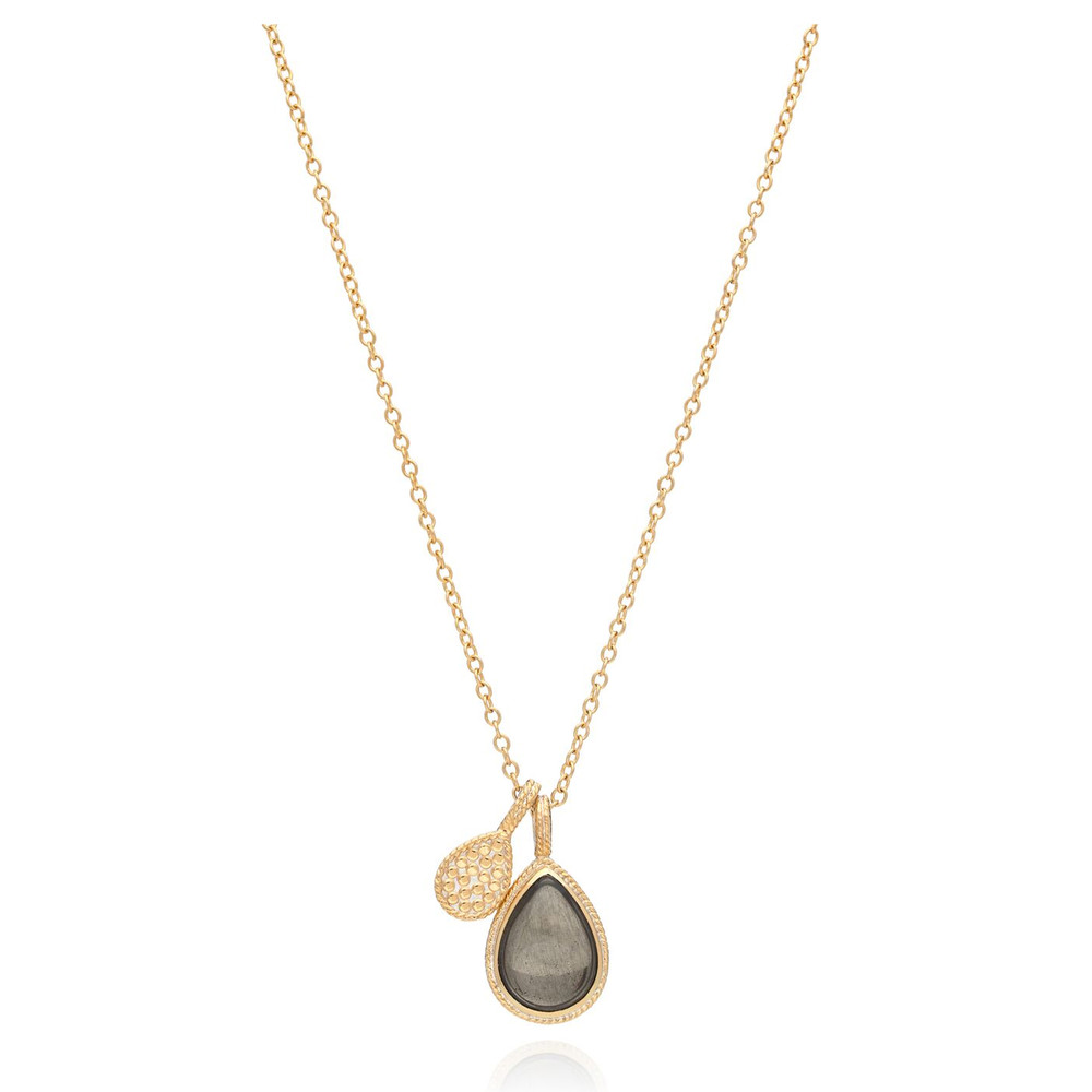 Mirage Smooth Pyrite Double Drop Reversible Pendant Necklace - Gold