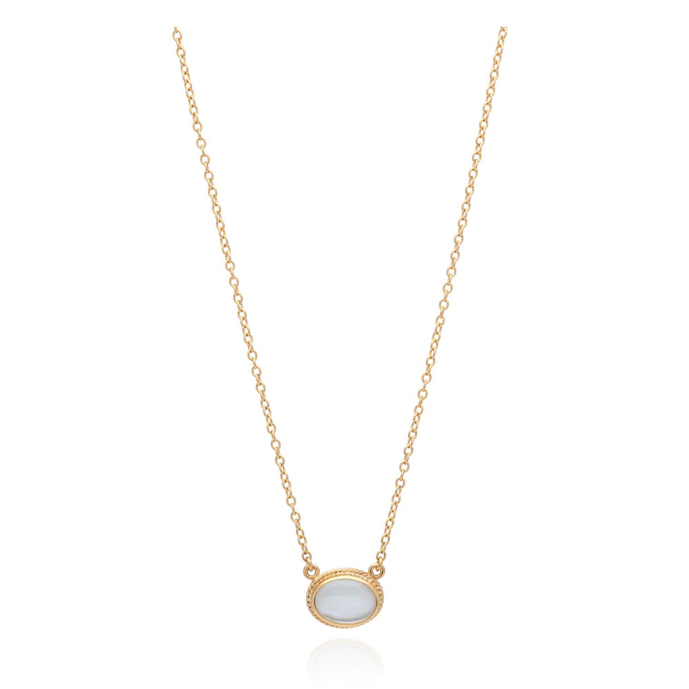 Mirage Mother Of Pearl Oval Pendant Necklace - Gold