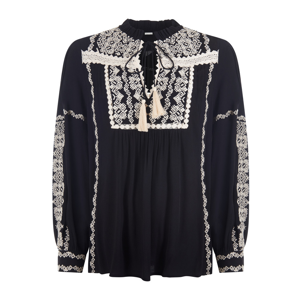 Keira Embroidered Blouse - Black