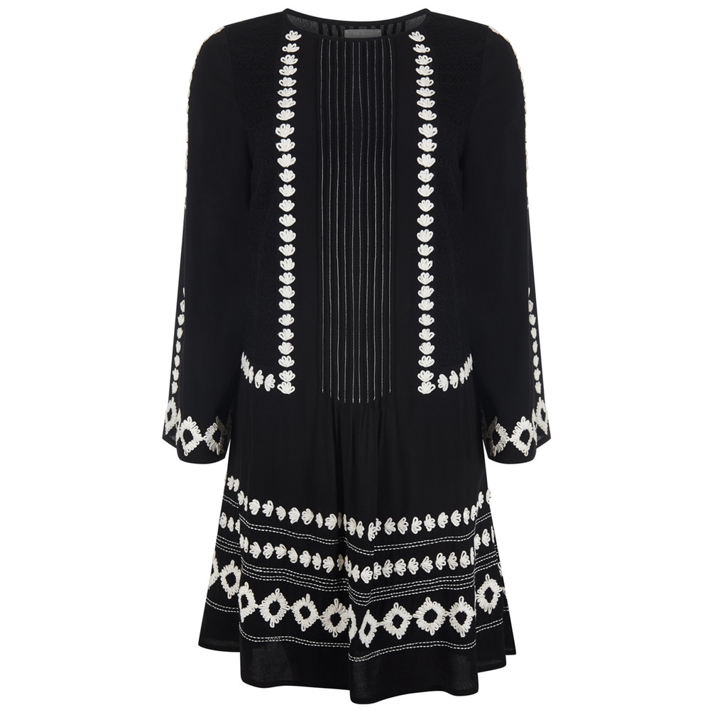 Cleo Embroidered Dress - Black