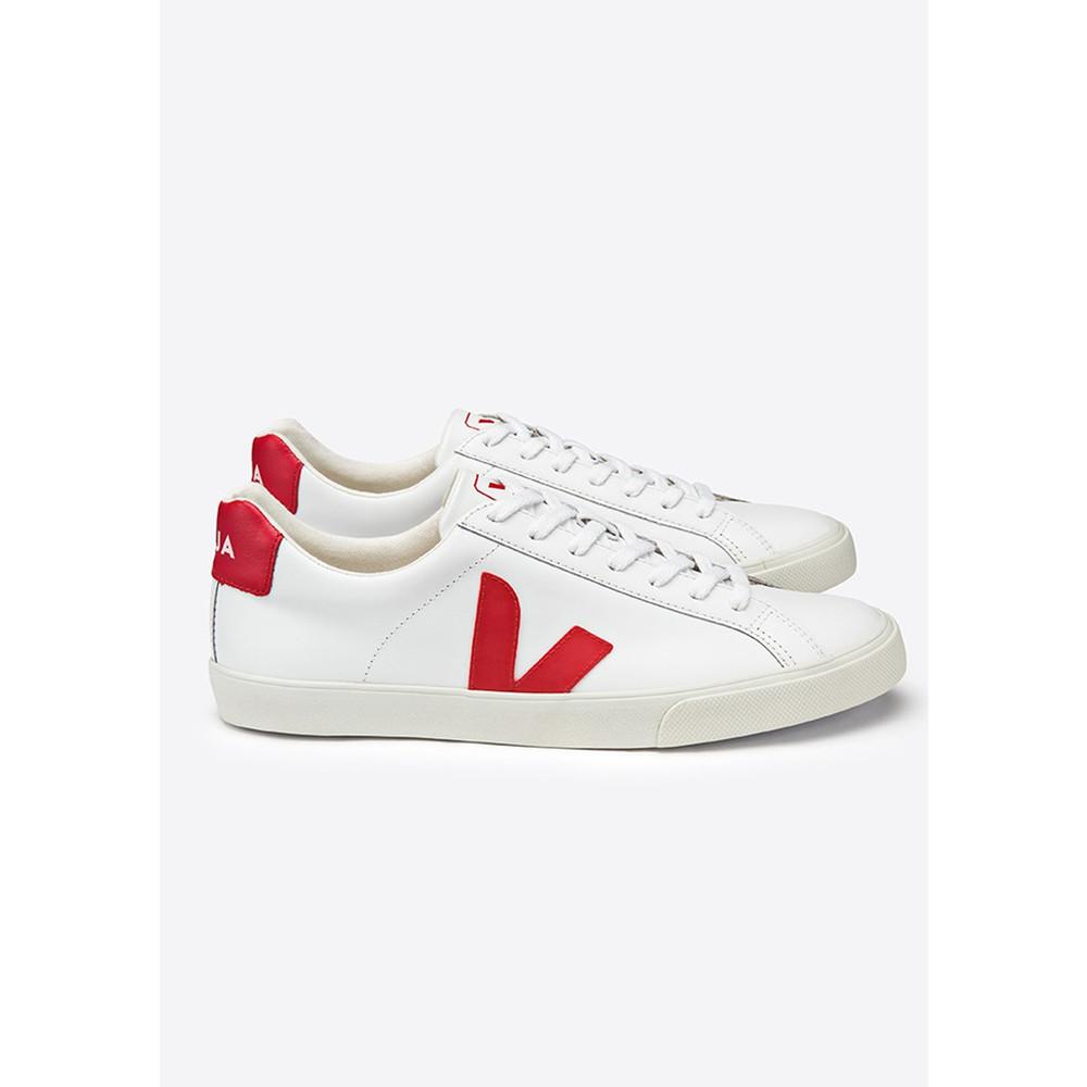 Esplar Leather Trainers - Extra White & Pekin