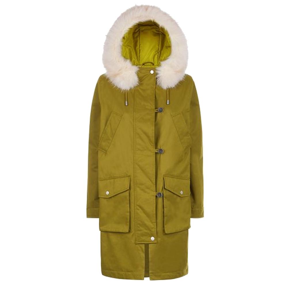 Aria Faux Fur Hood Parka - Moss Green