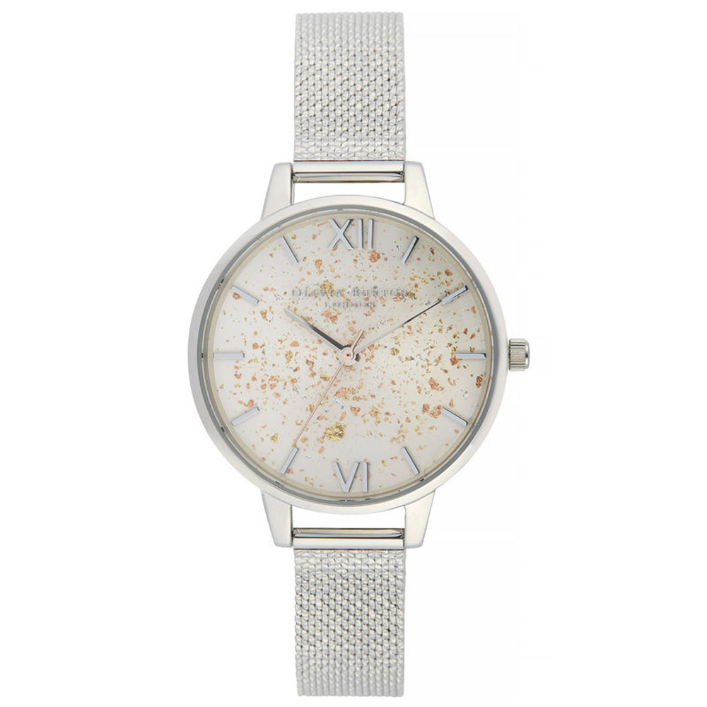 Celestial Demi Dial Boucle Mesh Watch - Silver