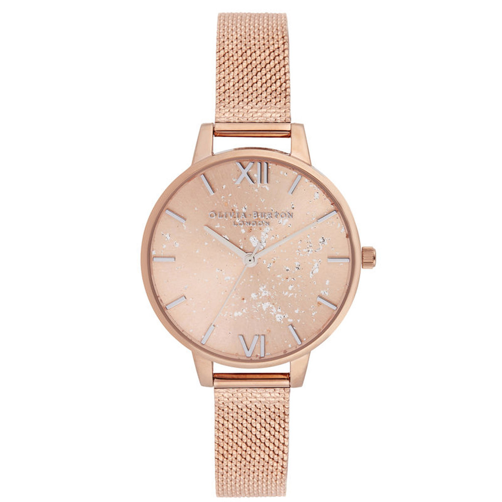 Celestial Demi Dial Boucle Mesh Watch - Rose Gold