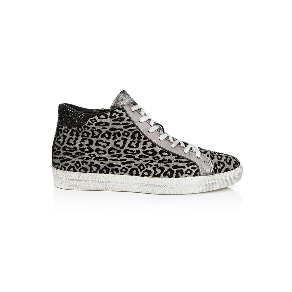 Alto High Top Leopard Trainers - Pewter