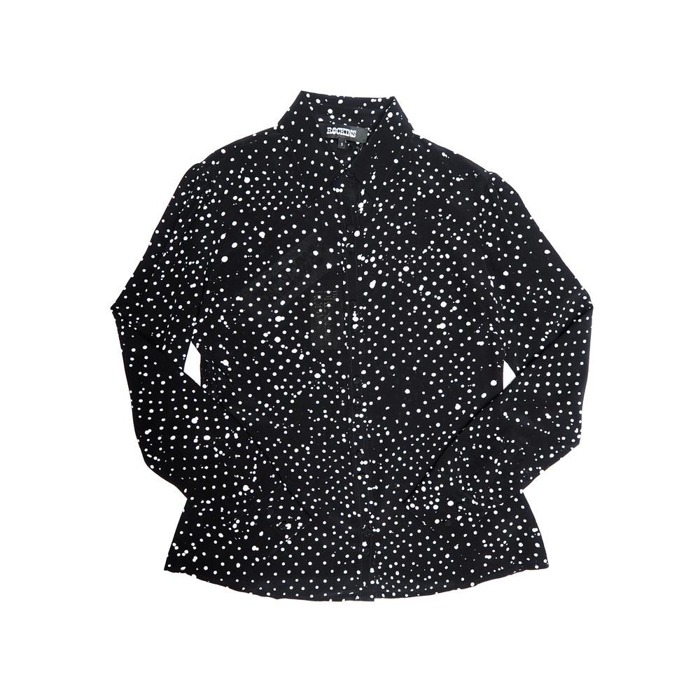Puff Sleeve Shirt - Black & White Polka Dot