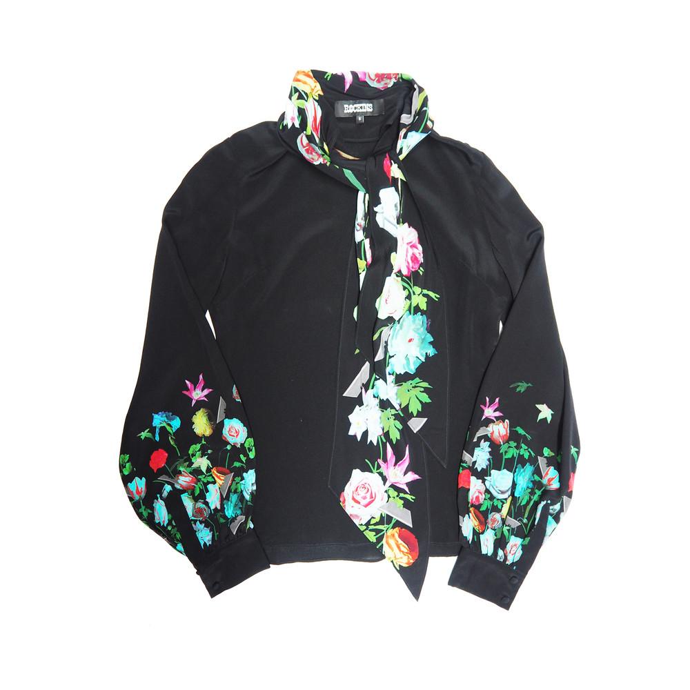 Pussy Bow Silk Shirt - Flora 2