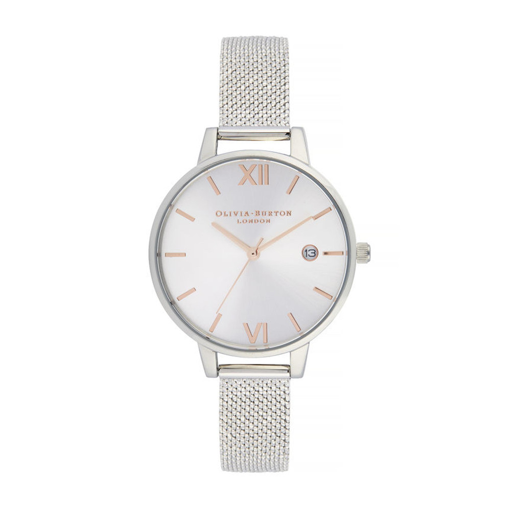 Sunray Demi Dial Watch with Boucle Mesh - Rose Gold & Silver