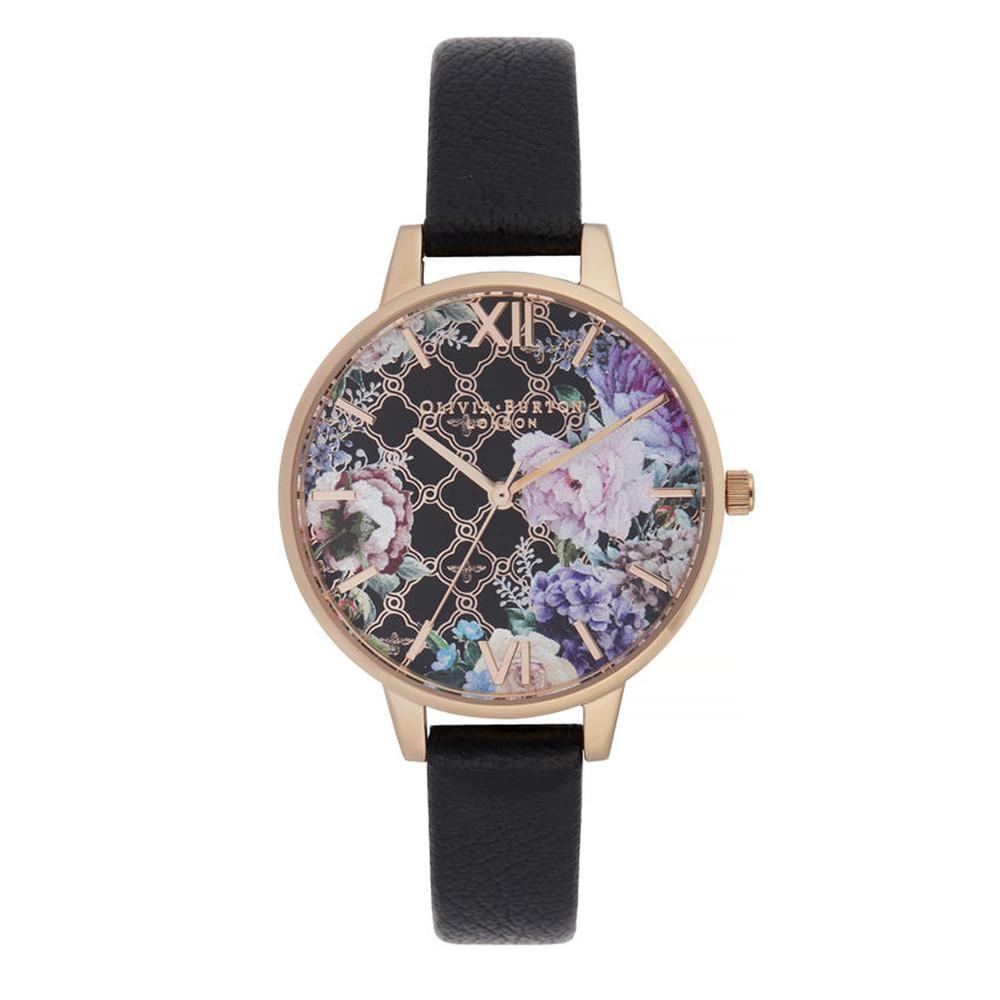 Glasshouse Demi Dial Watch - Black & Rose Gold