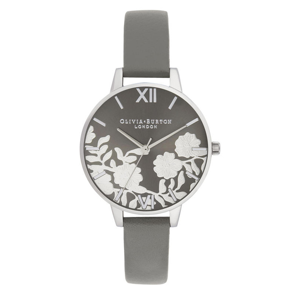 Lace Detail Sunray Demi Dial Watch - Grey & Silver