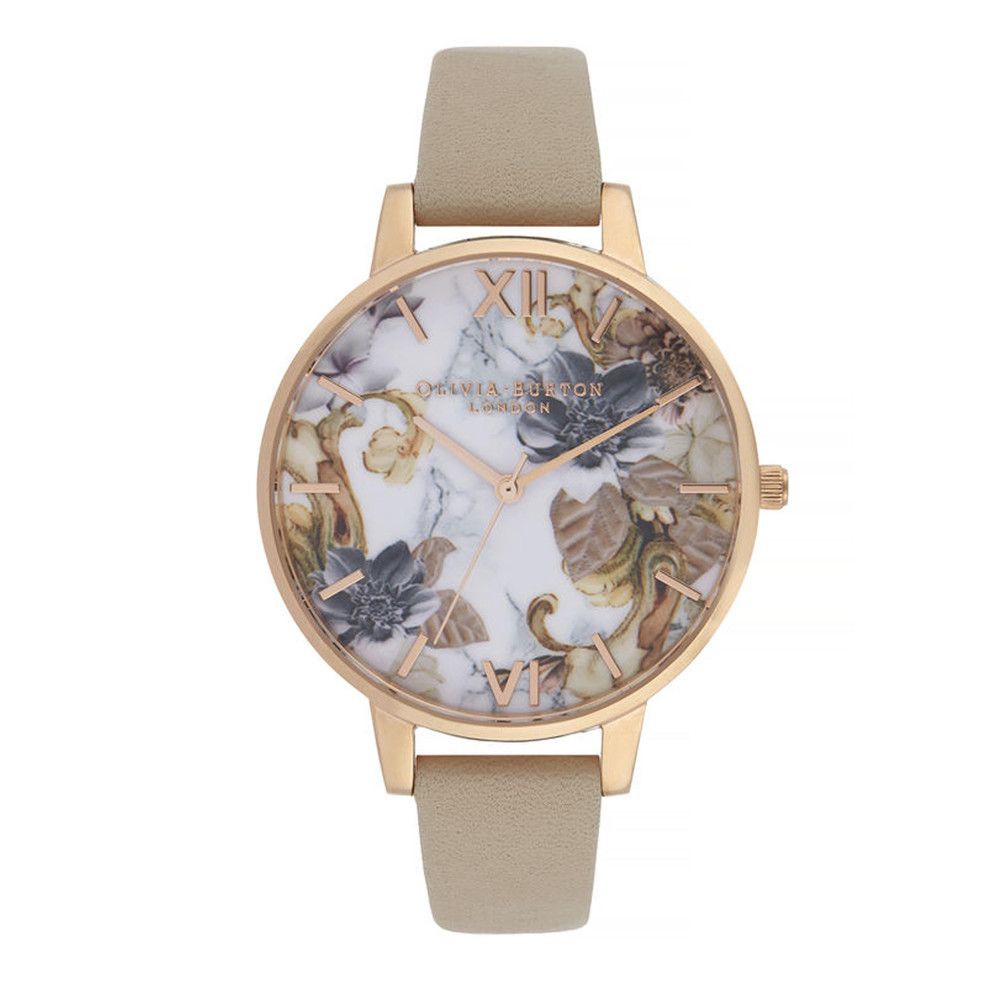 Marble Florals Big Dial Watch - Sand & Rose Gold