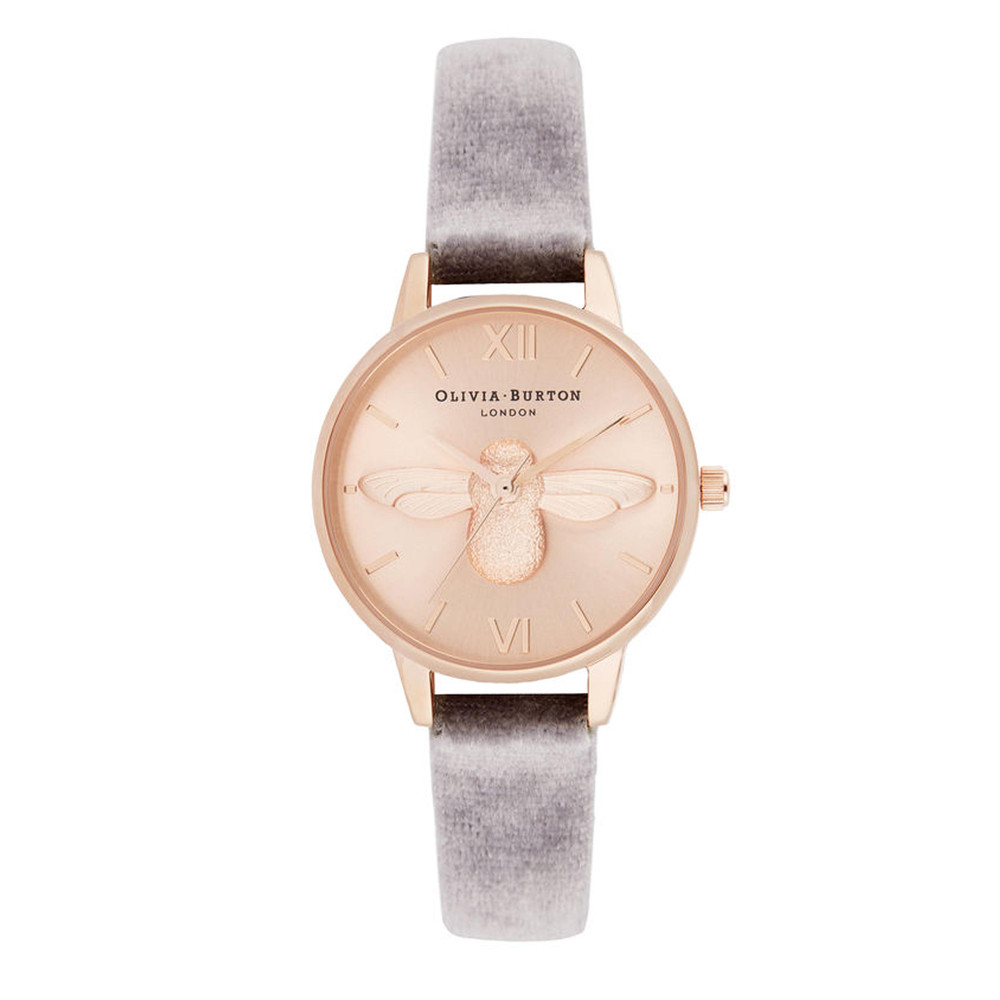 3D Bee Midi Dial Watch with Velvet - Grey, Lilac & Rose Gold