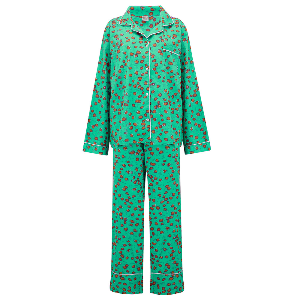 Leopard Pyjama Set - Emerald Green
