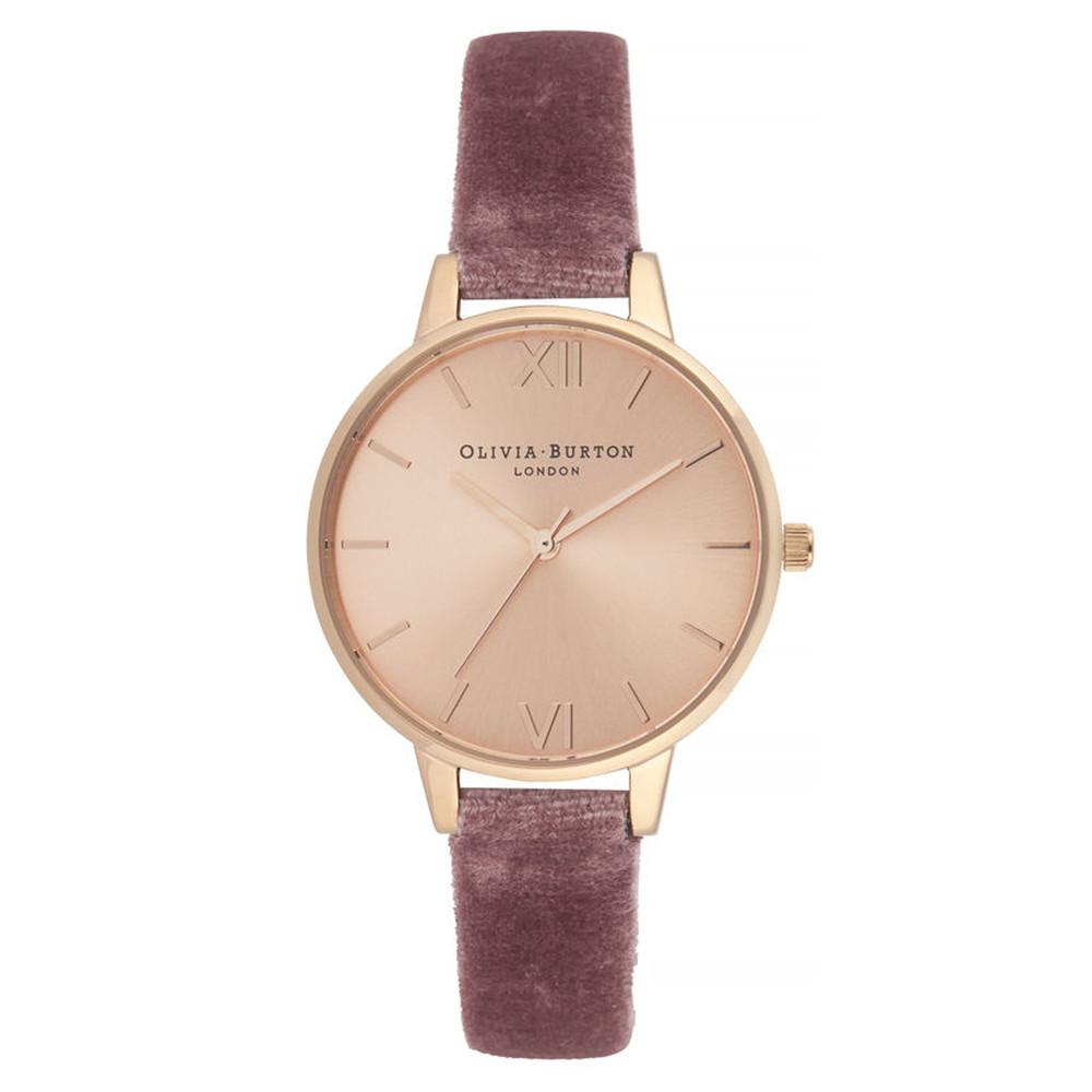 Sunray Demi Dial Watch - Rose Velvet & Rose Gold