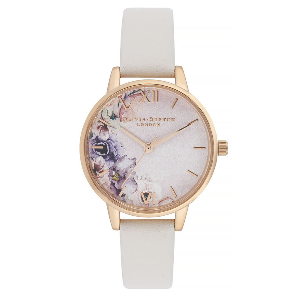 Watercolour Florals Midi Dial Watch - Blush & Rose Gold