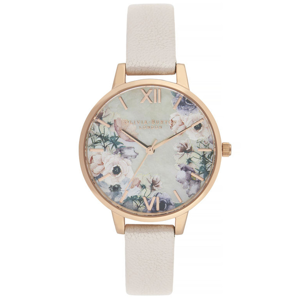 Watercolour Florals Demi Dial Watch - Nude Mother Of Pearl & Rose Gold