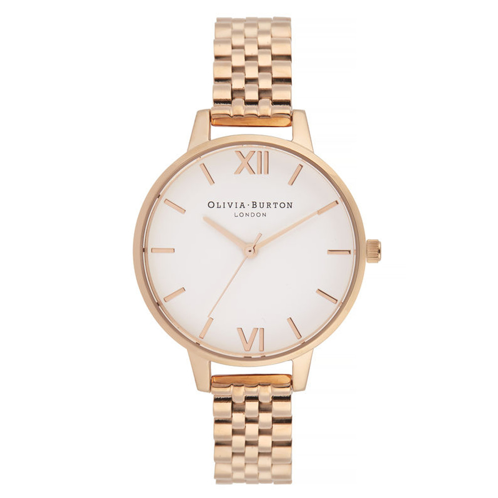 White Dial Demi Dial Bracelet Watch - Rose Gold
