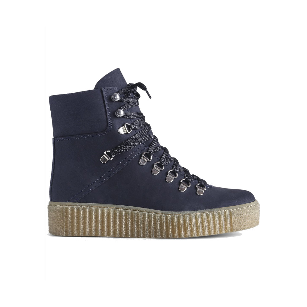 Agda Nubuck Leather Lace Up Boot - Navy
