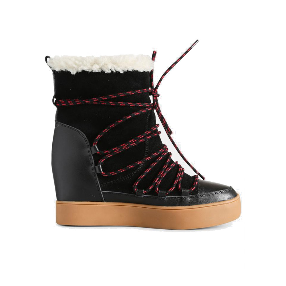 Trish Wool Lace Up Suede Boot - Black